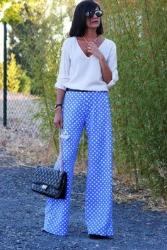 Polka Dot Blue Trousers with White Tops