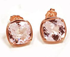 Sterling Silver Plated 18k Pink Gold Natural Cushion Kunzite Earrings