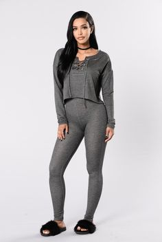 - Available in Charcoal - Matching Set - 65% Rayon 32% Polyester 3% Spandex Top - Long Sleeve Top - Boat Neck - Lace Up Front Detail Bottoms - High Waisted Leggings - Skinny Leg