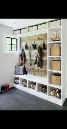 the mudroom is a pretty crucial spot in your house. An entryway is the first impression of your space and deserves organization, storage, and personality. These mudroom ideas are filled with classic mudroom bench and farmhouse style to more sleek options. Entryway Storage, Entryway Decor, Shoe Storage, Entryway Ideas, Door Entryway, Storage Spaces, Wall Storage, Storage Benches, Entrance Ideas