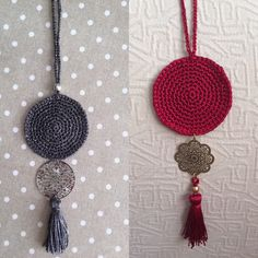 necklace crocheted with tassel and beads crochet tassel beads inspiration instyle winterstyle necklace crocjetnecklace metal glamorous wintercollection Bead Crochet, Crochet Motif, Crochet Earrings, Crochet Patterns, Textile Jewelry, Fabric Jewelry, Jewellery, Crochet Minecraft, Diamond Cross Necklaces
