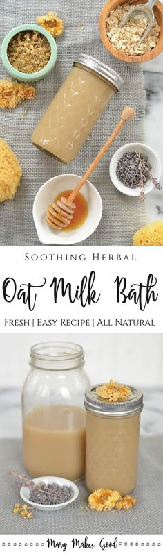 Herbal Oat Milk Bath: A soothing oat milk concentrate infused with chamomile, lavender, and calendula.