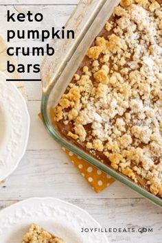 Cool, refreshing fall days are coming soon, and that can only mean one thing...PUMPKIN! Yes, it's time to make these incredible Keto Pumpkin Bars with Crumb Topping. They are one of the most delicious treats you'll ever taste and filled with lots of pumpkin and fall flavors. This low carb pumpkin recipe is also grain-free, sugar-free, gluten-free, Trim Healthy Mama friendly, and has a dairy-free option! Keto Pumpkin Pie, Pumpkin Bars, Pumpkin Recipes, Sugar Pumpkin, Fall Recipes, Low Carb Sweets, Low Carb Desserts, Healthy Desserts, Best Low Carb Recipes