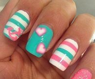 Striped Turquoise Pink Nails