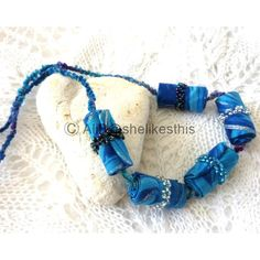 Blue Handmade Fibre beaded necklace unique blue fibre beaded jewellery ($13) ❤ liked on Polyvore featuring jewelry, necklaces, shelikesthis, bead jewellery, blue jewelry, beading necklaces, beading jewelry and beaded necklaces