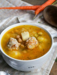 Healthy and satisfying garbanzo bean chicken soup. Step by step illustrated instructions.
