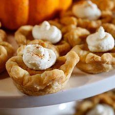Mini Pumpkin Tarts in Recipes on The Food Channel® Pumpkin Tarts, Mini Pumpkin Pies, Mini Pumpkins, Pumpkin Custard, Just Desserts, Delicious Desserts, Dessert Recipes, Yummy Food, Dessert Ideas