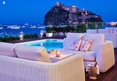 A five-star, seafront hotel on the Italian island of Ischia, including breakfast, a welcome cocktail, spa access and discounts