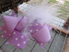 "Hand Made 4.5"" Grosgrain Ribbon Hair Clip Purple Polka Dot Feather 24 #Handmade"