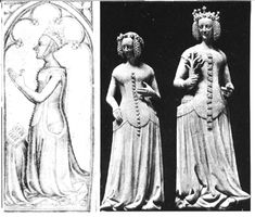 The sideless gown (AKA surcote) is still very popular in this century. Very commonly the holes are so large that only a narrow strip attaches the skirt to the collar/shoulder area of the dress. Often this strip is stiffened in order to support the weight of the rather full skirt. When this happens it is given the name plastron.    This style is very popular with French royalty beginning during the late Romanesque period. It is still seen in the 15th century. The buttons seen here are really…