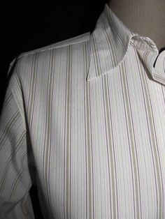 Classic Brooks Brothers 346 Size 6 white stripe button front shirt.  Non iron, with tan, pink and black stripes.  Crisp!