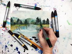 Watercolor scenery, pen and watercolor, abstract watercolor, watercolor lan Watercolor Art Lessons, Watercolor Art Diy, Watercolor Scenery, Watercolor Landscape, White Out Pen, Black Paper Drawing, Alisa Burke, Art Videos For Kids, Create Drawing