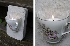 Tea cup embedded in plaster/cement? and a candle put inside. Ljusstake - av en kaffekopp