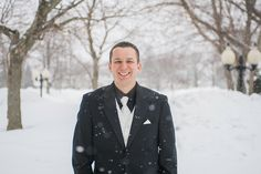 Portrait of the groom on his wedding day in Buffalo, NY