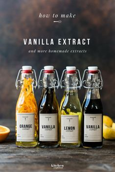 learn how to make vanilla extract and more homemade extracts (i. lemon extract, orange extract) for baking, Vanilla Extract Recipe, Lemon Extract, Homemade Spices, Homemade Seasonings, Spice Blends, Spice Mixes, Printable Labels, Free Printable, Flavored Oils