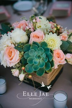 Centerpiece Flowers by Bloominaire www.bloominiare.com Peach and Mint Wedding