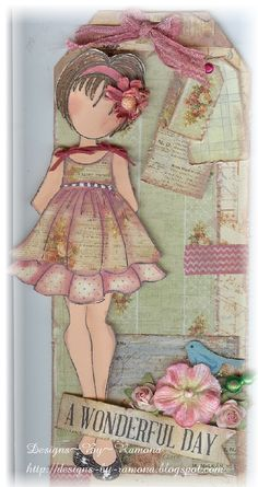Prima Julie Nutting Doll Stamp Tag, For My handmade greeting cards visit me at My Personal blog: http://stampingwithbibiana.blogspot.com/