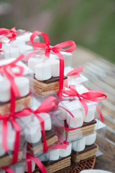 S'more favors in tiny little boxes.