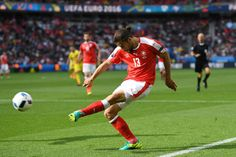 Ricardo Rodriguez of Switzerland in action during the UEFA EURO 2016 Group A match between Romania and Switzerland at Parc des Princes on June 15, 2016 in Paris, France.