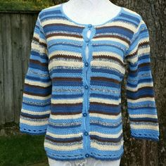 ☆HP☆ Petite Striped Cardigan Petite 3/4 Sleeved Striped Cardigan Gently used lightweight cardigan in brown, yellow, blue, and navy stripes. Material: 55% ramie, 45% cotton. Villager Sport Petite, A Liz Claiborne Company.  Pictured with Coldwater Creek rust denim jeans, available in my closet. Villager Sport Petite Sweaters Cardigans