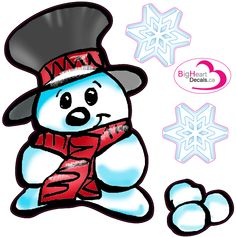 Snowman from Big Heart Decals Inc. Made in Canada. Fabric stickers or wall decals for nursery or kids playrooms. Sticks on walls, windows and flat surfaces. Movable, removable, no residue. Price: $15.00 - 12.25x12 inches