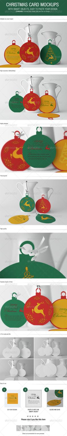 Christmas Card Mockups 4 Pre made psd file High resolution 3000x2000px Editable via smart object Changeable background via smart object Realistic Depth of Field Highly detailed Fully layered High quality * SAMPLE GRAPHICS ARE NOT INCLUDED IN THE DOWNLOAD * MINIMUM ADOBE CS VERSION: CS4