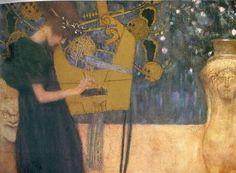 Music Gustav Klimt Date: 1895 Style: Art Nouveau (Modern) Period: Early works Genre: allegorical painting Media: oil, canvas Dimensions: 44.5 x 37 cm Location: Bayerische Staatsgemäldesammlungen, Munich, Germany
