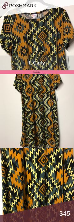 NWT Lularoe Carly Dress Zig Zag Orange Blue Large *Make Me An Offer* All of my items in both my Closet and Boutique come from a smoke free and pet free environment. Pre-owned items are only owned by one owner which is me. All items listed as EUC mean they have been worn once or twice and laundered by the instructions per each garment. I love to shop and have lots of kids but they can't wear everything before they grow out of it! 😊 Also, any shadows in the pictures are not stains or faded…