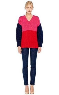 PIERRE BALMAIN Color Block V-Neck Knit Sweater