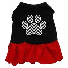 Chevron Paw Screen Print Dress Black with Red Lg (14)