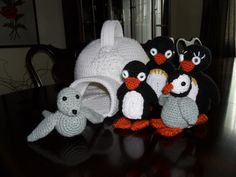 Because a certain little grand-daughter likes to watch penguins on Youtube.  Variations on the pattern Cuddly Crochet Creatures: Penguin, at www.womansday.com