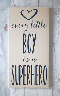 Enfants décoration - pépinière décor - Every Little Boy est un super-héros - panneau de bois peint à la main-vous choisissez couleurs by vinylcrafts on Etsy