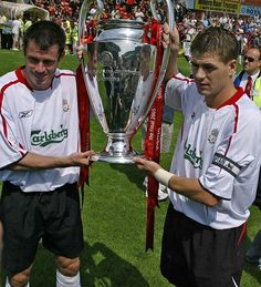 Liverpool FC's 2005/2006 away kit - Jamie Carragher and Steven Gerrard with the Champions League trophy