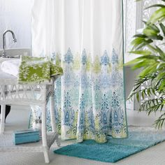 Blue/Green Print Shower Curtain - v3. Jordan likes color scheme, just not this particular curtain