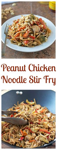 Peanut Chicken Noodle Stir Fry. A healthy, easy, clean out your fridge meal. Ready in less than 30 minutes!
