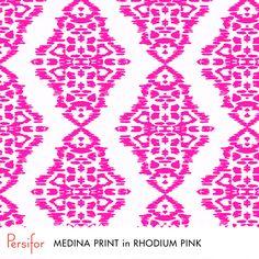 Persifor Medina Print in Rhodium Pink. Bright, bold, fun Pantone colors. Unique prints.