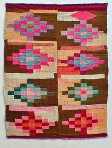 Unique Old Quilt Like Tapestry Bolivia Indian Wool Blanket TM8746