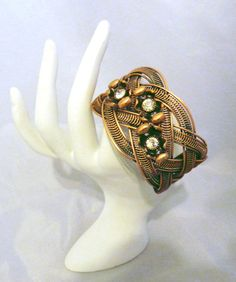 Beautiful Antiqued Copper Cuff Bracelet With Vintage Embellishments