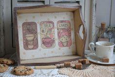 """Купить Поднос """"Чай, кофе и пироженое"""" декупаж винтаж - поднос декупаж, поднос деревянный"""