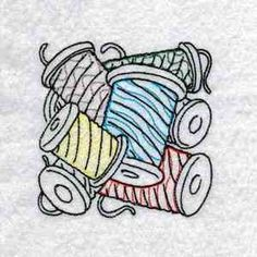 """This free embroidery design is from Design by Sick's """"Sewing Block"""" collction."""