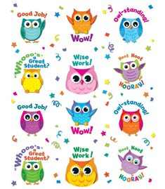 Carson Dellosa Colorful Owl Motivators Motivational Stickers Students will love getting this cute, playful and encouraging Colorful Owl Motivator Stickers. Includes 12 different owl stickers with various designs and motivating words! 72 stickers in all! Owl Classroom Decor, Classroom Themes, Classroom Teacher, Kindergarten Classroom, Preschool Education, Reward Stickers, Teacher Stickers, Teacher Stamps, Teacher Gifts