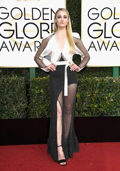 WORST: Sophie Turner's complicated black and white gown missed the mark in more ways than one. Where do we even begin? (Photo by Frazer Harrison/Getty Images)  via @AOL_Lifestyle Read more: http://www.aol.com/article/entertainment/2017/01/08/golden-globes-2017-best-and-worst-dressed/21650510/?a_dgi=aolshare_pinterest#fullscreen