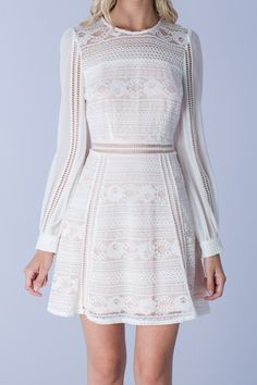 Rosemary Long Sleeve Lace Dress - Off White