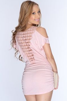 Pink Draped Crochet Design Back Sexy Dress