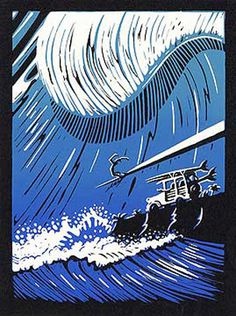 """Surf Pioneers"" - block print by John Severson. 9″X12″ Block carving serigraphed signed unlimited edition.  Originally carved for the Surf Pioneers Feat, the block celebrates the adventure, spirit and stoke of the 1950s."