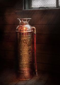 $32 Mike Savad - Everything was pretty back then. The fire extinguisher is important to have, but ugly to look at. This model features shiny brass, and look much nicer than what we have today.  #savad #fireman #firemen #firefighter #extinguisher #fireSafety