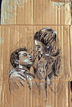 Tony & Maria - West Side Story Chalk, Charcoal, Cardboard, Lucy Brown, 2014