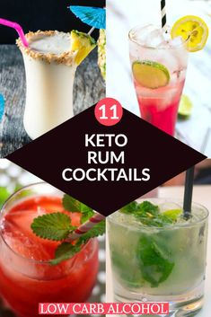 Keto Cocktails & Low Carb Alcohol: Ultimate Guide To Drinking On The Keto Diet Keto Cocktails Low Carb Alcoholic Drinks with Rum! Low Carb Pina Colada, Hurricane, Keto May Tai, and more fabulous Keto Cocktails! Low Carb Cocktails, Low Carb Mixed Drinks, Keto Drink, Diet Drinks, Pool Drinks, Keto Diet Alcohol, Mixed Drinks Alcohol, Mojito Alcohol, Liquor Drinks