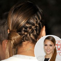 Love this hair style Jessica Alba wore. I even like it without the braid but that braid makes it awesome!