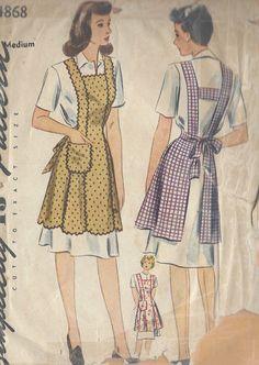 "1943 Vintage Sewing Pattern APRON B36""-38"" MEDIUM (R26)   eBay"
